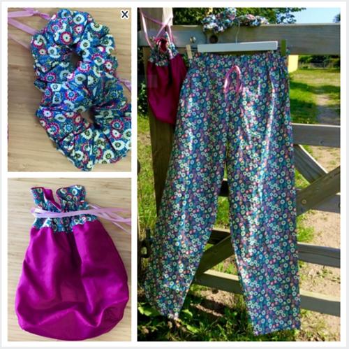 Lær at sy - pyjamasbukser, scrunchie og taske